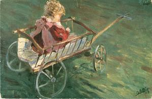 young girl in old style cart