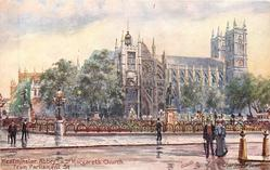 WESTMINSTER ABBEY AND ST MARGARET'S FROM PARLIAMENT ST.