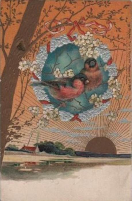 two birds on limb in center, one large tree left, gold sun lower right, house lower left
