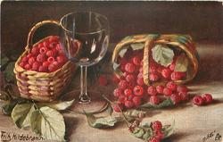 raspberries in two baskets, one on its side, wine glass between