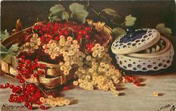 red & white currants in baskets, ceramic pot right
