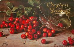 red cherries on table, glass bowl right