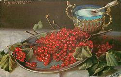 red currants on silver dish, sugar bowl right