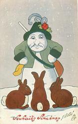 hunting snowman looks down at three rabbits