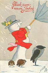 snowman holds umbrella blown inside out, four birds on snow belowbird dance to it