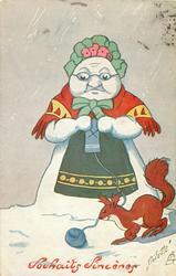 snow-woman knits, squirrel below
