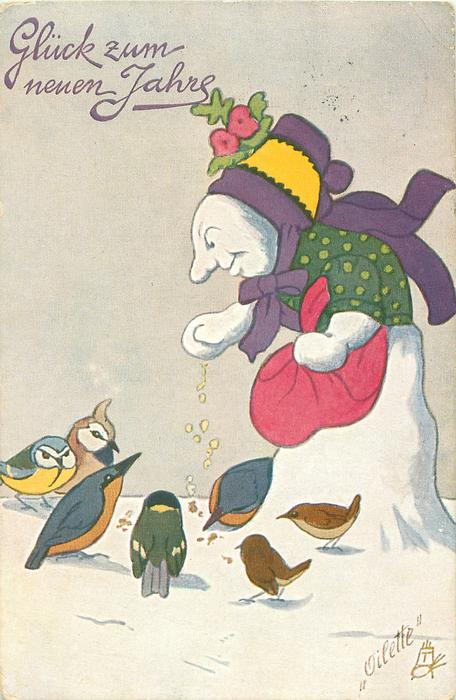 snowwoman feeds birds
