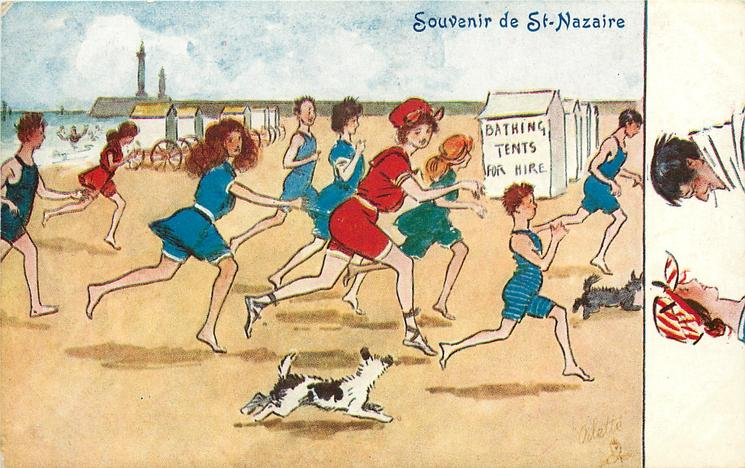 boys and girls run up the beach
