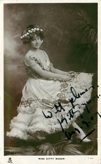 MISS KITTY MASON  seated facing right, looking front, showing left ankle