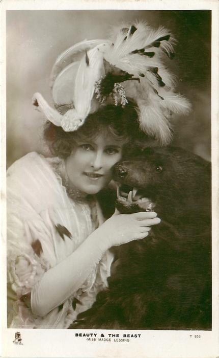 BEAUTY AND THE BEAST (MISS MADGE LESSING)  cuddling head of stuffed bear