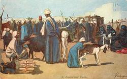 A COUNTRY FAIR  crowded market, two goats & firewood for sale front