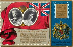 CORONATION SOUVENIR JUNE 22ND 1911 GOD SAVE OUR KING AND QUEEN under flag with royal pictures inset