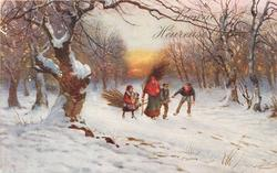 woman and three children pulling sled loaded with branches in snow