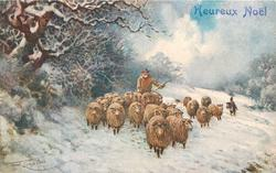 sheep being herded forward, man behind with stick, dog to right of sheep, winter scene