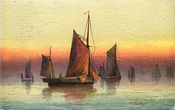 sunset scene, sailboat facing right, two parts of sail hang over boat