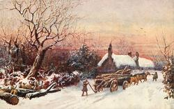 horse drawn wagon full of lumber is stuck in snow, man behind with lever