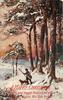 shepherd and dog in front of snow covered scotch pines