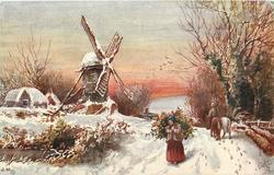 windmill left, woman walking with large bundle on back, man with horse rides away