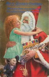 MERRY CHRISTMAS GREETINGS  Santa cuddles girl, puppet & crackers, girl and Santa turned toward each other