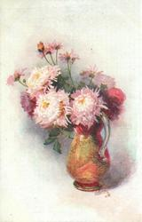 pink mums in red/green vase