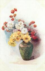 yellow white & red mums in crinkled green vase