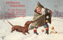 dachshunds pulls at the green cloak of worried boy carrying presents & tree, in snow