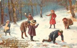 seven children playing in snow, boy in right front on knees, girl in back with snowball