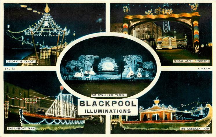 5 insets DECORATIVE CANOPY/FLORAL ARCH, CENOTAPH/THE SWAN LAKE TABLEAU/THE LIFEBOAT TRAM/THE GONDOLA TRAM