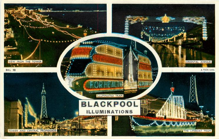5 insets VIEW FROM THE TOWER/ORIENTAL AVENUE/ILLUMINATED TRAM/TOWER AND CENTRAL PROMENADE/THE LIFEBOAT TRAM