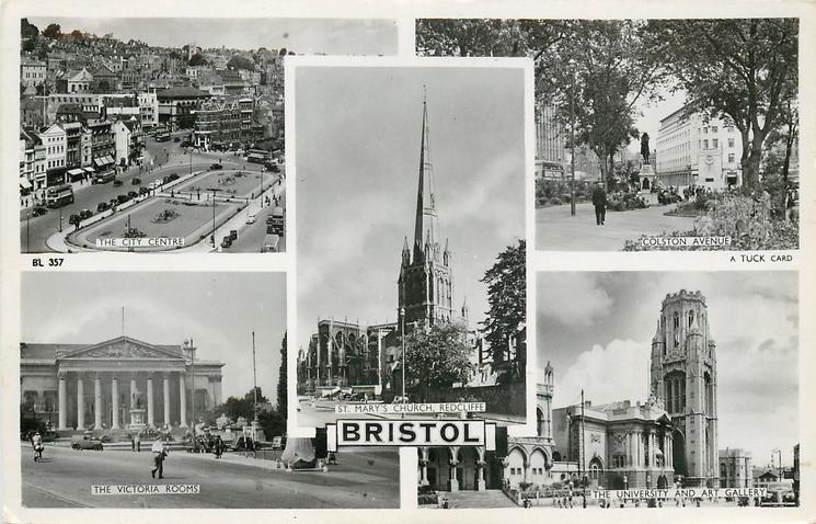 5 insets  THE CITY CENTRE, COLSTON AVENUE/ST. MARY'S CHURCH, REDCLIFF/THE VICTORIA ROOMS/THE UNIVERSITY AND ART GALLERY