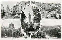 5 insets  PARK STREET/THE CITY CENTRE/CABOT TOWER/BRISTOL CATHEDRAL/CLIFTON SUSPENSION BRIDGE