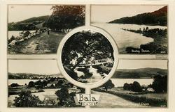 5 insets THE LAKE ROAD FROM PAL-MAWR/BOATING STATION/GILLIGREEN BRIDGE/GENERAL VIEW/BALA LAKE & LAN-Y-CIL CHURCH