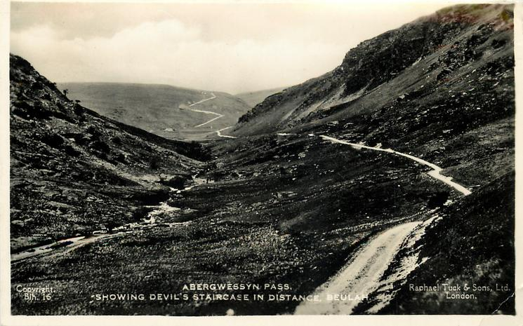 ABERGWESSYN PASS, SHOWING DEVIL'S STAIRCASE IN DISTANCE