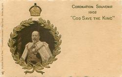 CORONATION SOUVENIR 1902 GOD SAVE THE KING inset EdVII, gilt surround under crown