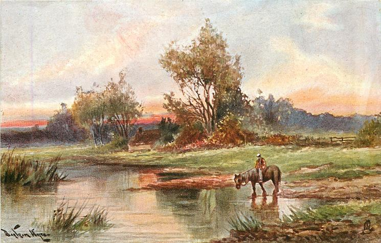 man at lake on horseback, about to enter lake, house and rail fence in background