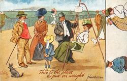 THIS IS THE PLACE TO PUT ON WEIGHT family observe lady being weighed on swing scales on promenade
