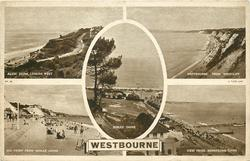 WESTBOURNE 5 insets  ALUM CHINE, LOOKING WEST/WESTBOURNE FROM WESTCLIFF/DURLEY CHINE/SEA FRONT FROM MIDULE CHINE/VIEW FROM BRANKSOME CHINE