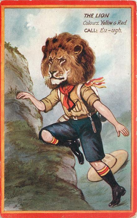THE LION   COLOURS, YELLOW & RED. CALL: EU-UGH