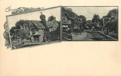2 insets SHANKLIN  thatched cottages/village street scene