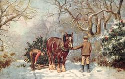 horse drawn sled ,two men