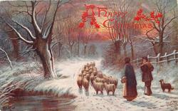 shepherd with wife and dog, driving small flock of sheep in snow