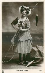 MISS JEAN AYLWIN  fishing rod & fish hanging right