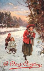 girl pulling girl and boy on sled