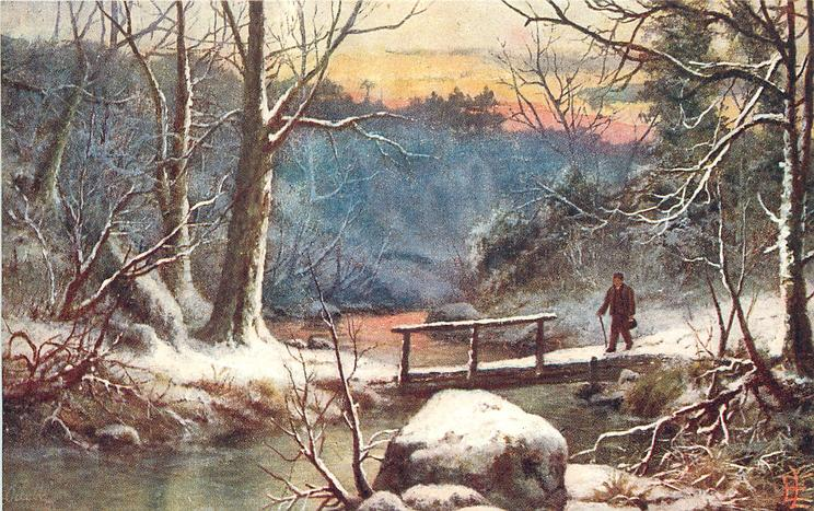 man walking through woods in snow covered ground with cane in one hand going across bridge