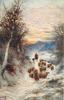 shepherd herding sheep along path, dog to mans right, one large tree to left
