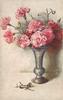 ten pink carnations in metallic vase