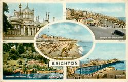 5 insets, THE ROYAL PAVILION/AQUARIUM AND MARINE PARADE/ THE BEACH FROM PALACE PIER/WATERFALL, THE ROCKERY/PALACE PIER