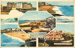 5 insets, ROUGH SEA/THE BEACH FROM WEST PIER/PROMENADE WEST OF PALACE PIER/SEA FRONT FROM PALACE PIER/AQUARIUM AND MARINE PARADE