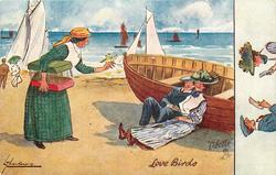 ON THE BEACH (back), LOVE BIRDS  pedlar offers two pet birds to couple sitting on sands against row-boat