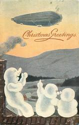 three snowmen  on roof wave to airship